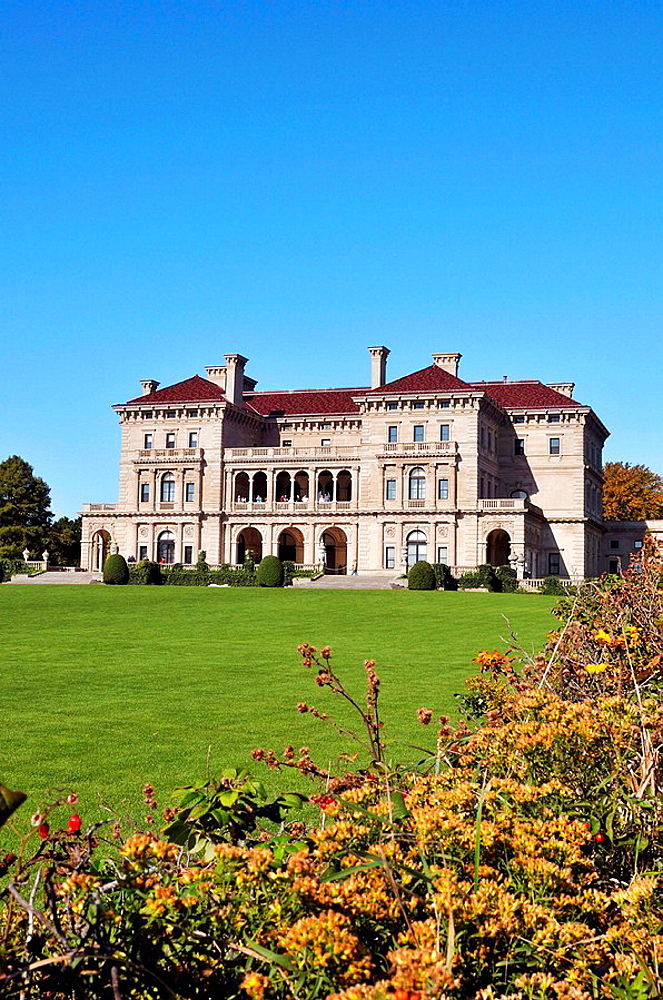Breakers Mansion, summer home of the Vanderbilts, in historic Newport Rhode Island on Bellevue Avenue taken from the Cliffwalk