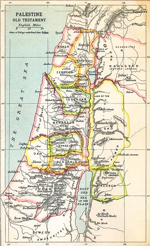 Map of Palestine as described in the Old Testament  From the book Atlas of ancient and Classical Geography published 1928