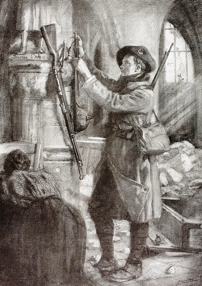 A French mountain infantry soldier hangs a German rifle, bayonet and helmet at the feet of a statue of Saint Joan of Arc as an ex-voto offering in a ruined church during the First World War  After a work by Lucien Jonas  From LIllustration, 1916