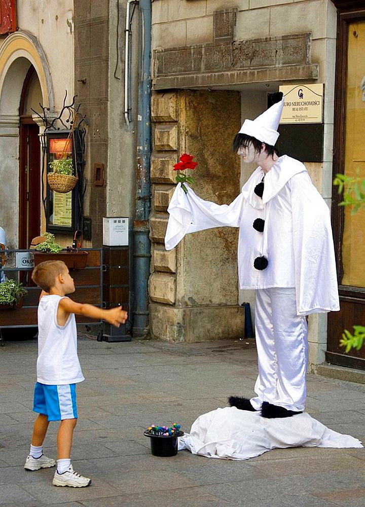 Street performer at Main Market Square, Krakow, Poland