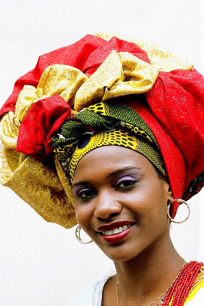 Woman in traditional dress, Salvador, Bahia, Brazil.