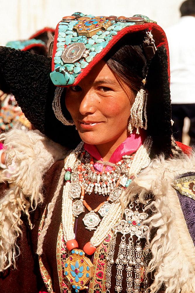 Leh, woman in traditional dress, Ladakh, Jammu and Kashmir, India.