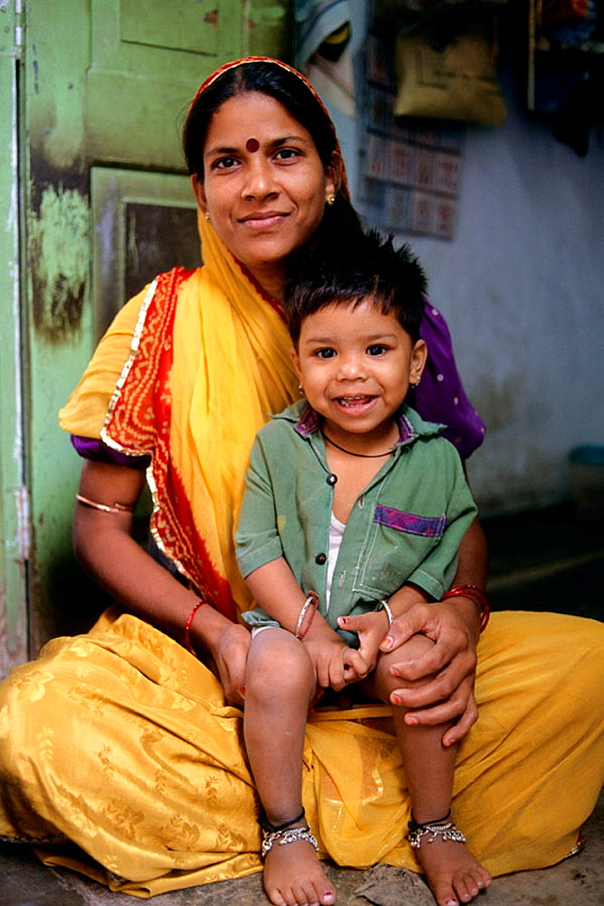 Mother and son, Udaipur, Rajasthan, India.