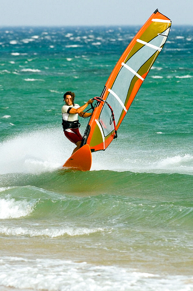 windsurfing in tarifa with strong levante