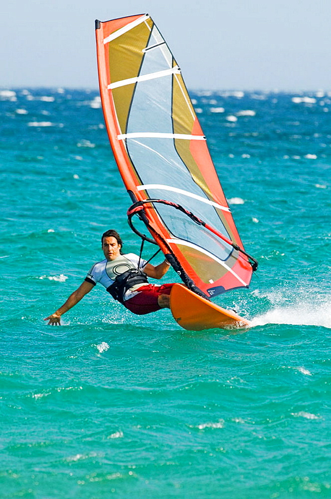 windsurfing in tarifa with strong levante wind