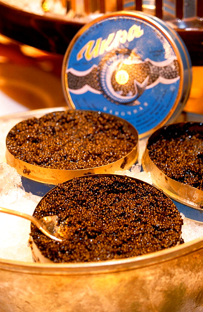 Caviar being served in luxury restaurant, Saint Petersburg, Russia - 817-24722