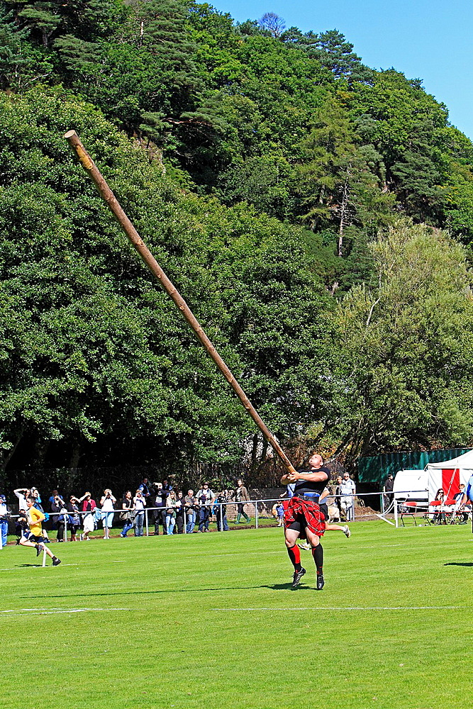 Highlands games in Oban Caber toss County of Argyll West Scotland.