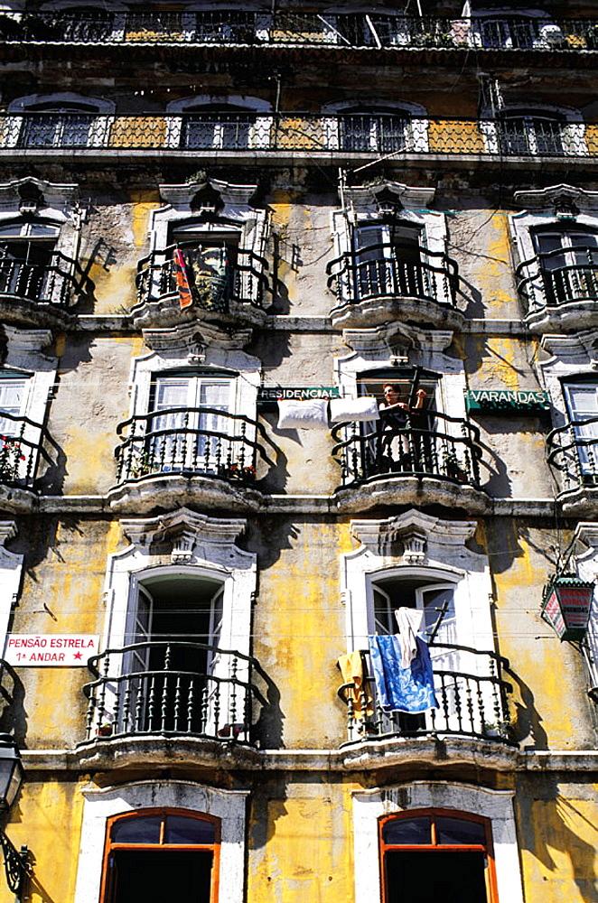 Building front at the Alfama, Moorish quarter (Old town), Lisbon, Portugal