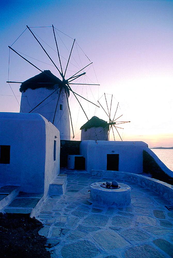 Windmills at dusk, Mykonos, Greece