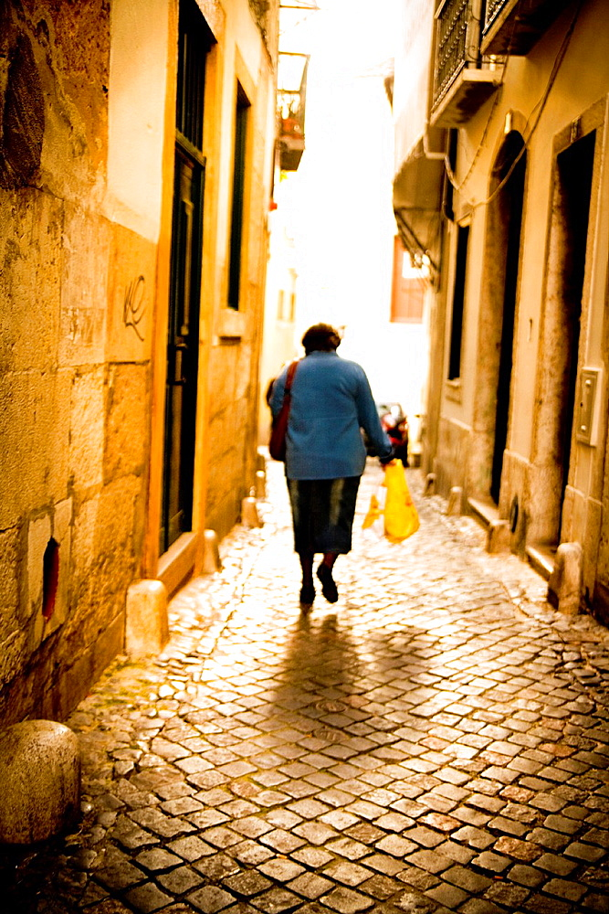 Woman in Alfama, Lisbon, Portugal