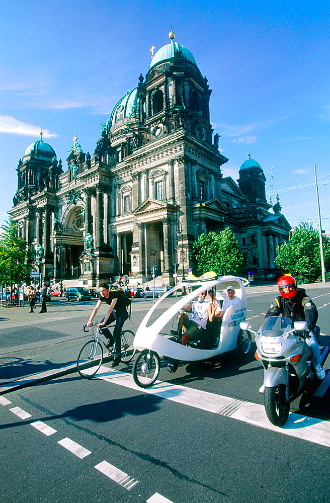 Cathedral, Bike, motorcycle and pedicab, Berlin, Germany