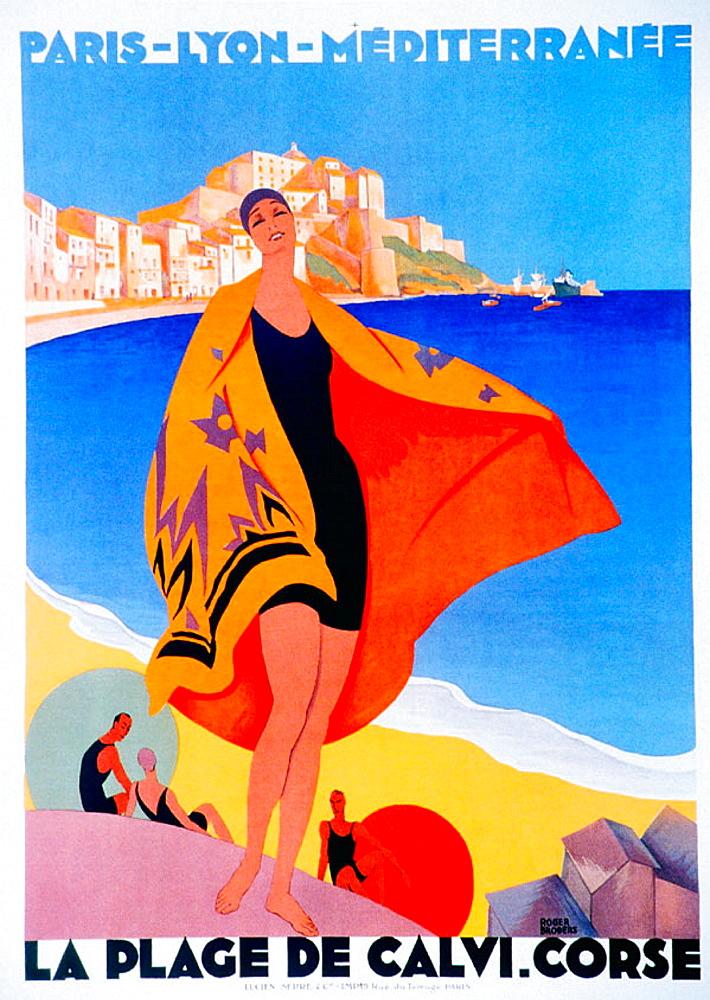 Poster advertising tourism in Corsica, printed circa 1920