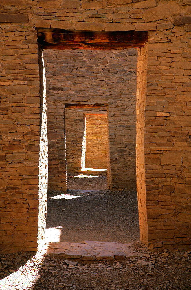 Doorways in Pueblo Bonito anasazi ruin in Chaco, New Mexico, USA