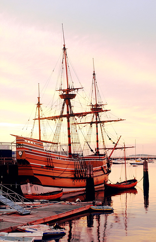 Reconstruction of the Pilgrim Fathers sailing ship the Mayflower at Plymouth, Cape Cod, Massachusetts, New England, USA