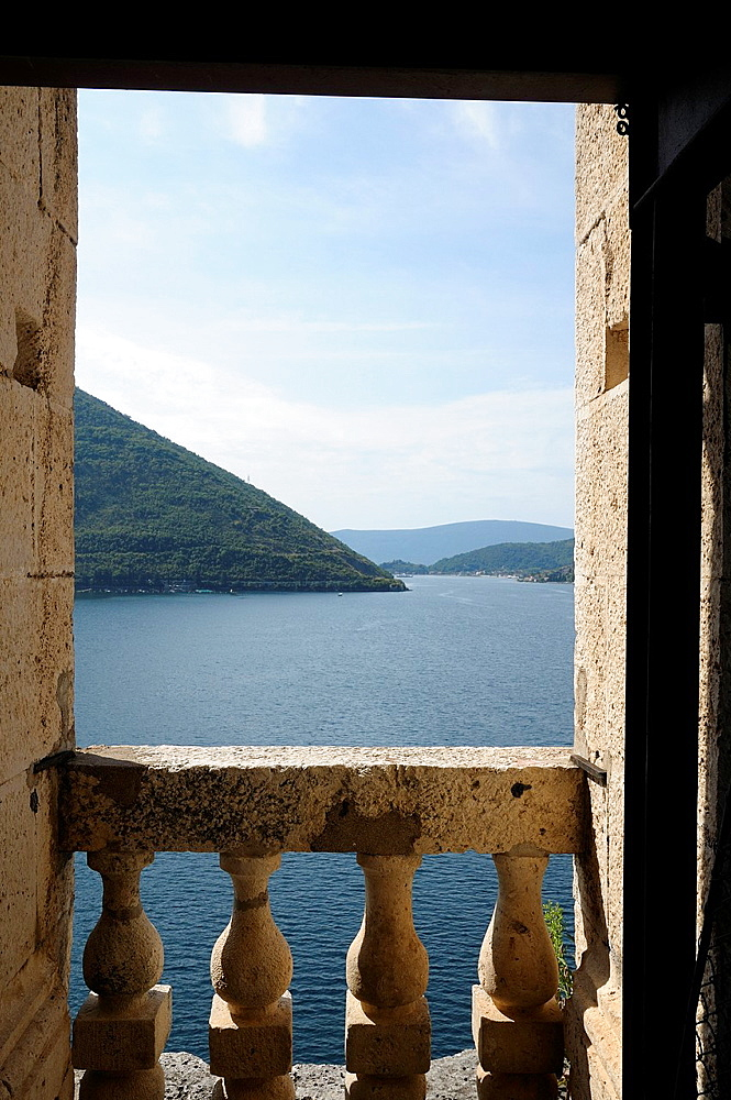 Montenegro, Kotor Bay, Perast Bay from the top of the tower of St Nicholas church