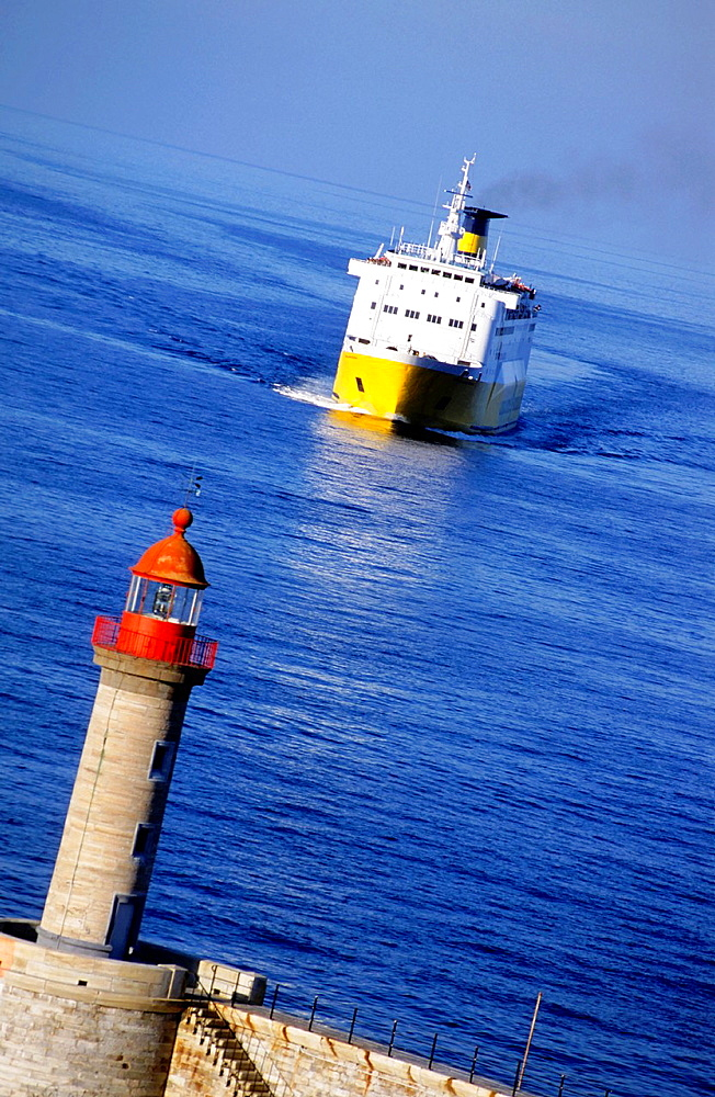 Large ferry ship arriving at Bastia, Corsica, France