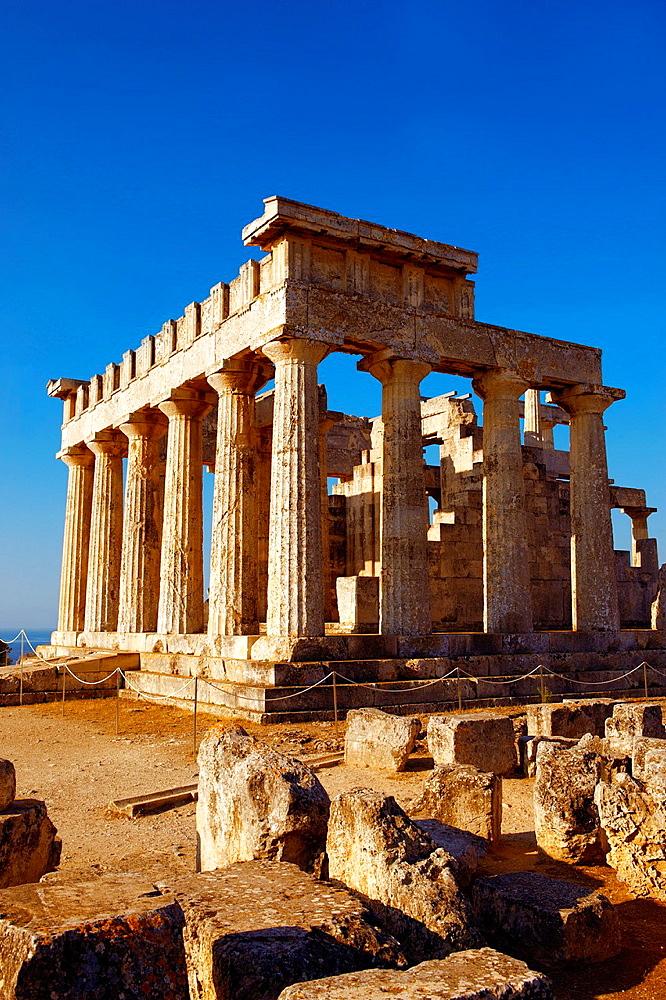 The Greek Doric Temple of Aphaia 500BC Aegina, Greek Saronic Islands