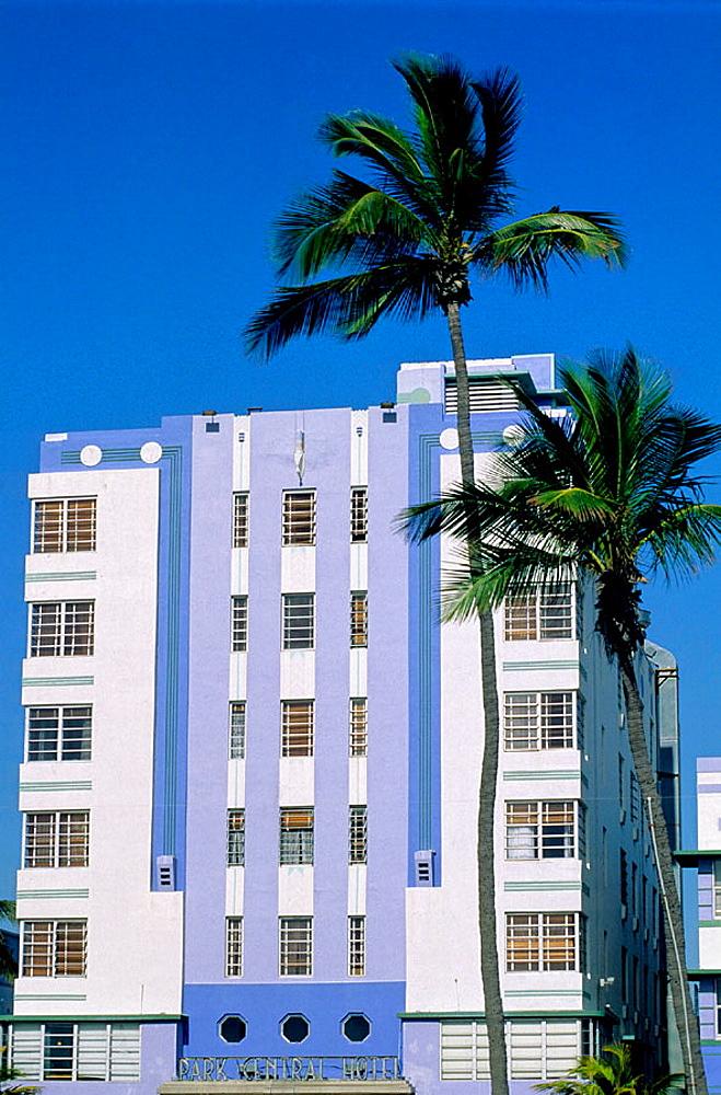 Park Central Hotel, Ocean Drive in the Art Deco district, Miami Beach, Florida, USA. - 817-26743