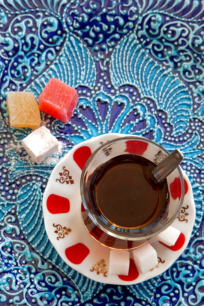 A glass of Turkish Tea and Turkish Delight or Loukoum Istanbul, Turkey