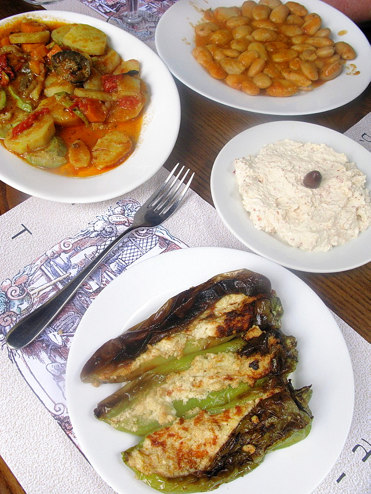 Greek Food Stuffed Peppers, Briam, Giant Beans and Spicy Cheese dip