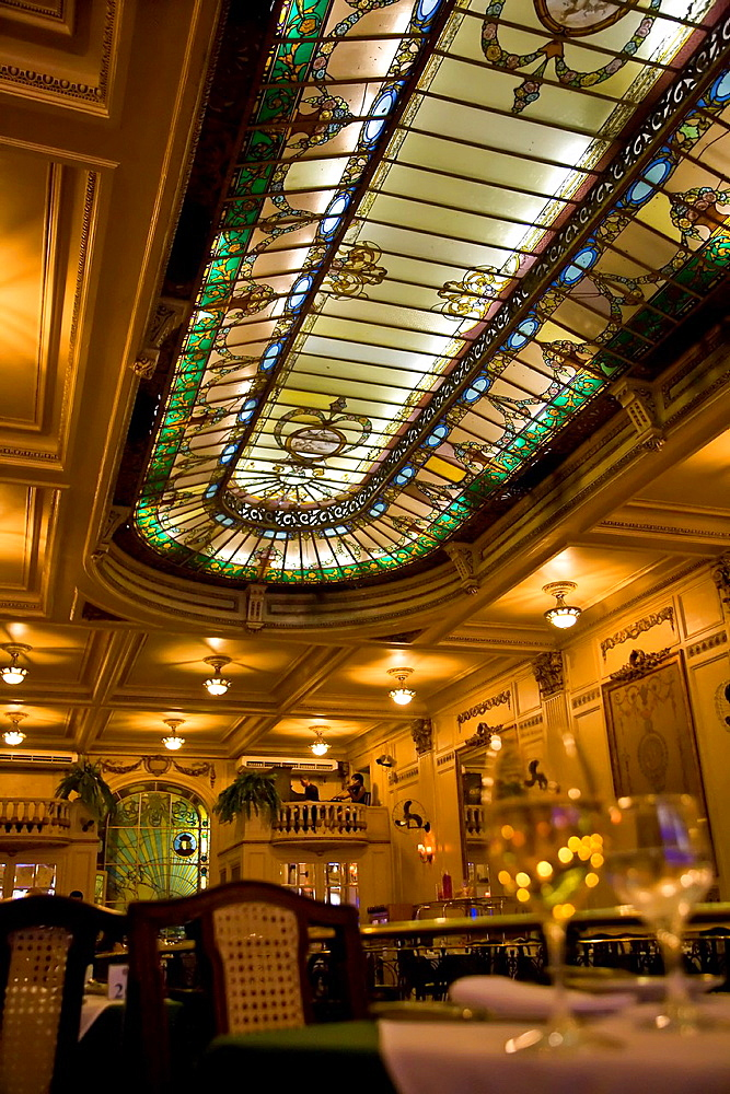 Brazil The beautiful stained glass windows at the Cristova Restaurant Top floor, Confeitaria Colombo, Rio de Janeiro