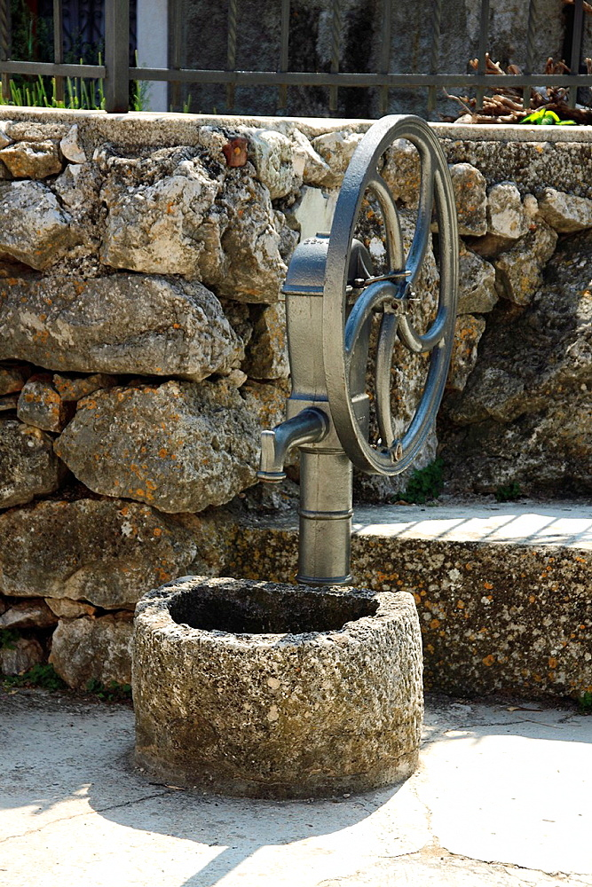 Old water pump in Beli village on Cres Island, Croatia