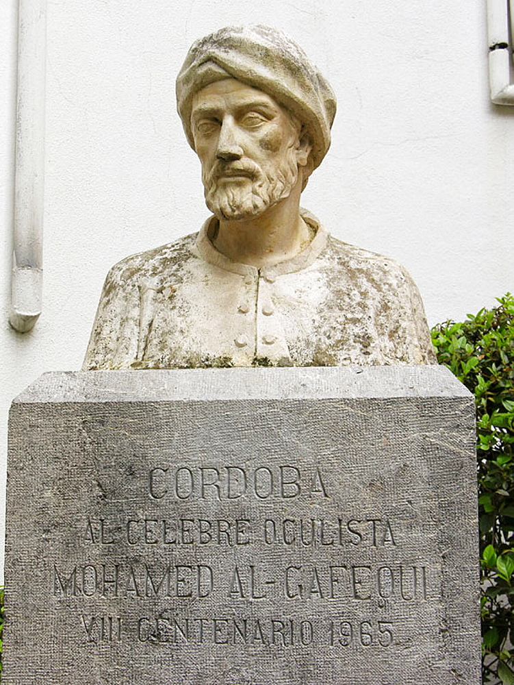 Mohamed Al-Gafequi memorial, arab oculist from the 8th Century, Historic city of Cordoba , Andalucia, Spain