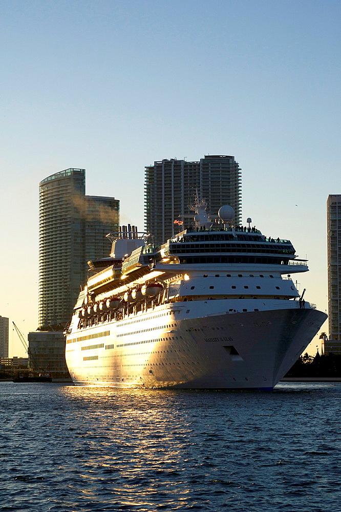 Cruise ship in Miami port