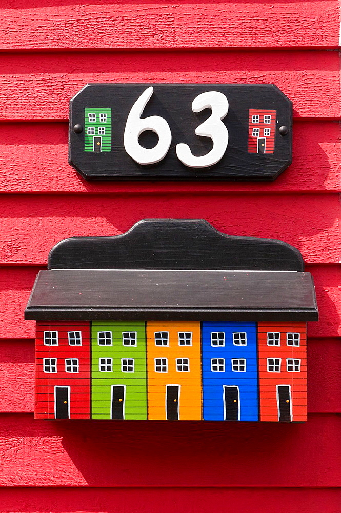 Mailbox, jelly-bean jelly bean row houses, Signal Hill Road, St Johns, Newfoundland, Canada