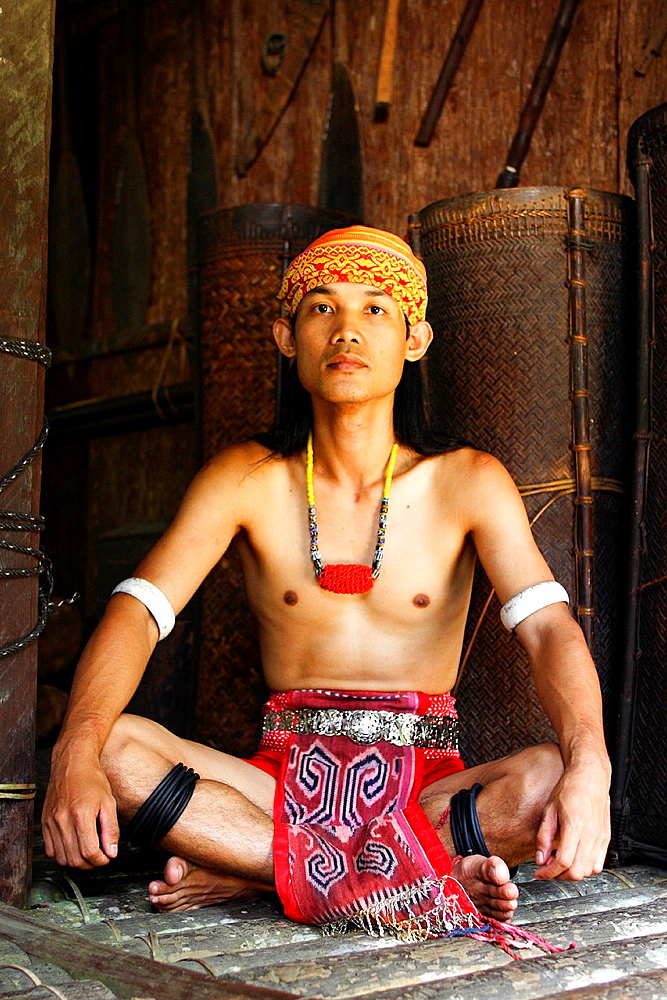 Iban man, Borneo Sarawak Culture Village, Kuching, Sarawak, Malaysia
