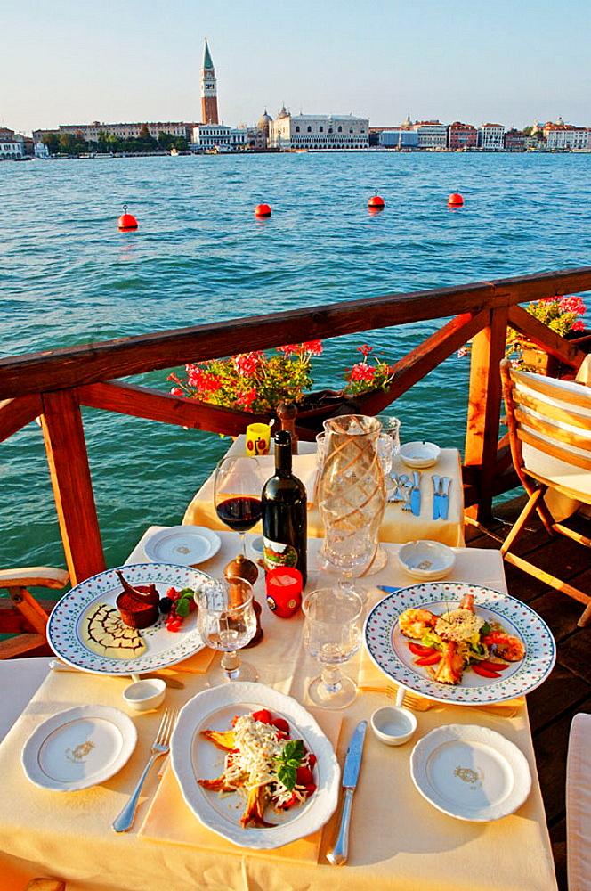 The Hotel Cipriani Terrace on Giudecca canale, Giudecca island, Venice, Venetia, Italy