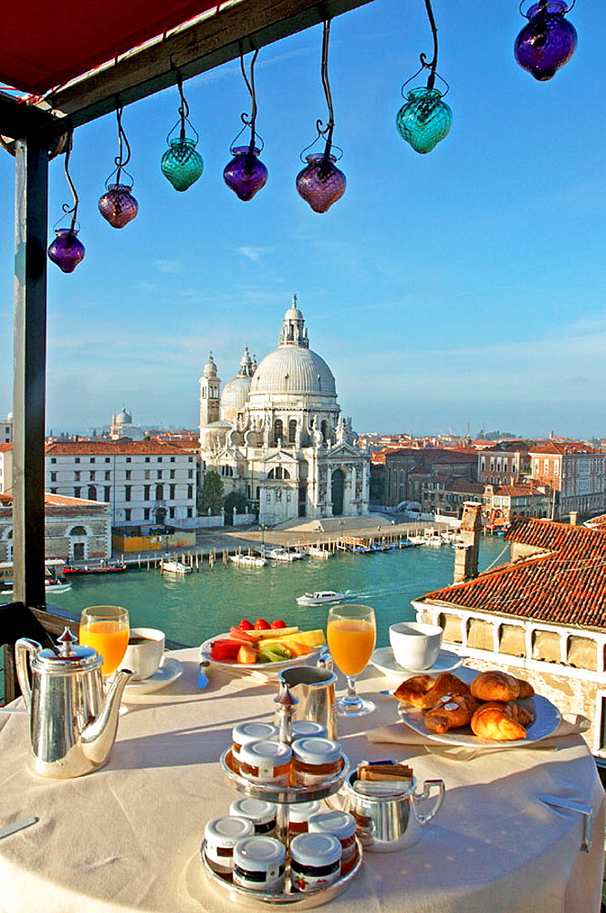 Breakfast on the Grand Hotel Bauer Roof terrace, Ancient palazzeto overlooking Grand Canal and La Salute church, City of Venice, Venetia, Italy - 817-27451