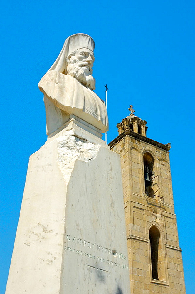 Bust of Makarios III, archbishop and primate of the Orthodox Church of Cyprus, Nicosia, Cyprus