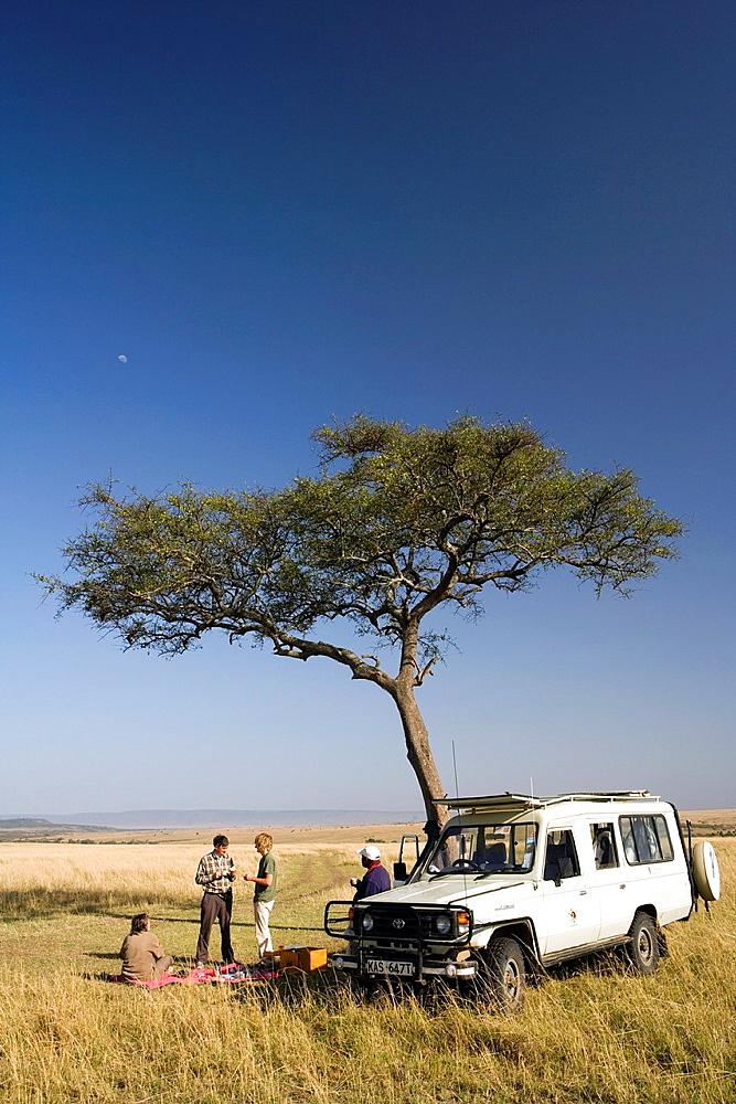 Tourists On Safari having Picnic, Masai Mara National Reserve, Kenya