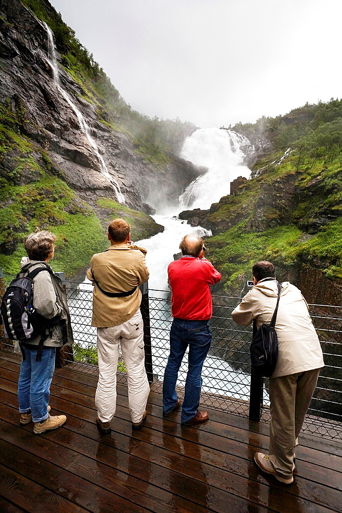 Flam railway The stop at the waterfall Kjosfossen Flam, Aurlandsfjord, Aurland, Sogn og Fjordane, Norway