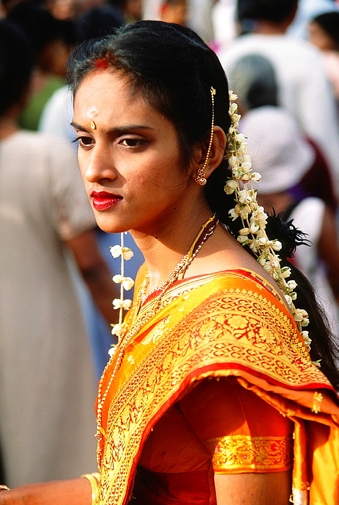 Malaysia, Penang, Thaipusam, Hindu, religious, festival, people, woman, portrait,