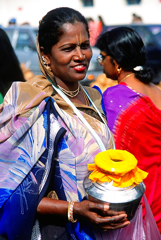 Malaysia, Penang, Thaipusam, Hindu, religious, festival, people, woman, portrait, offerings,
