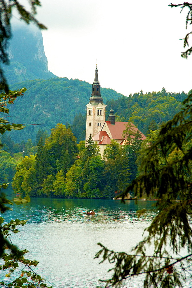Pilgrimage Church of the Assumption of Mary on an island, Lake Bled, Slovenia