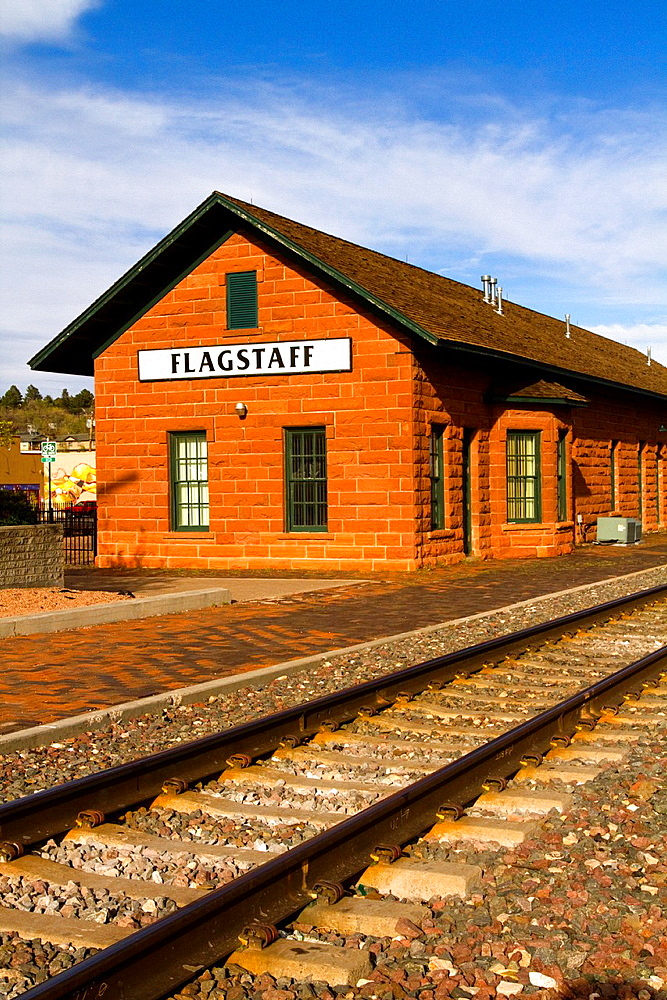 Flagstaff Train Depot on Route 66, Flagstaff, Arizona, USA