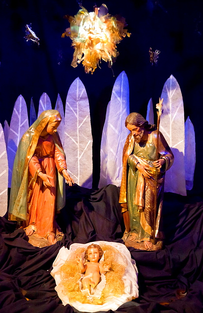 Nativity scene inside Catholic church at Christmas, Buenos Aires, Argentina.