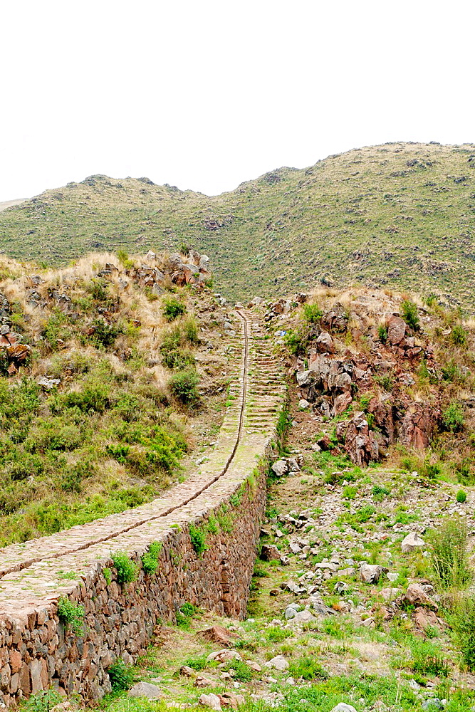 Inca aquaduct used to carry water from surrounding mountains for use in ritual and agricultural purposes Tipon, Comunidad de Choquepeda, 27km southeast of Cusco, Peru