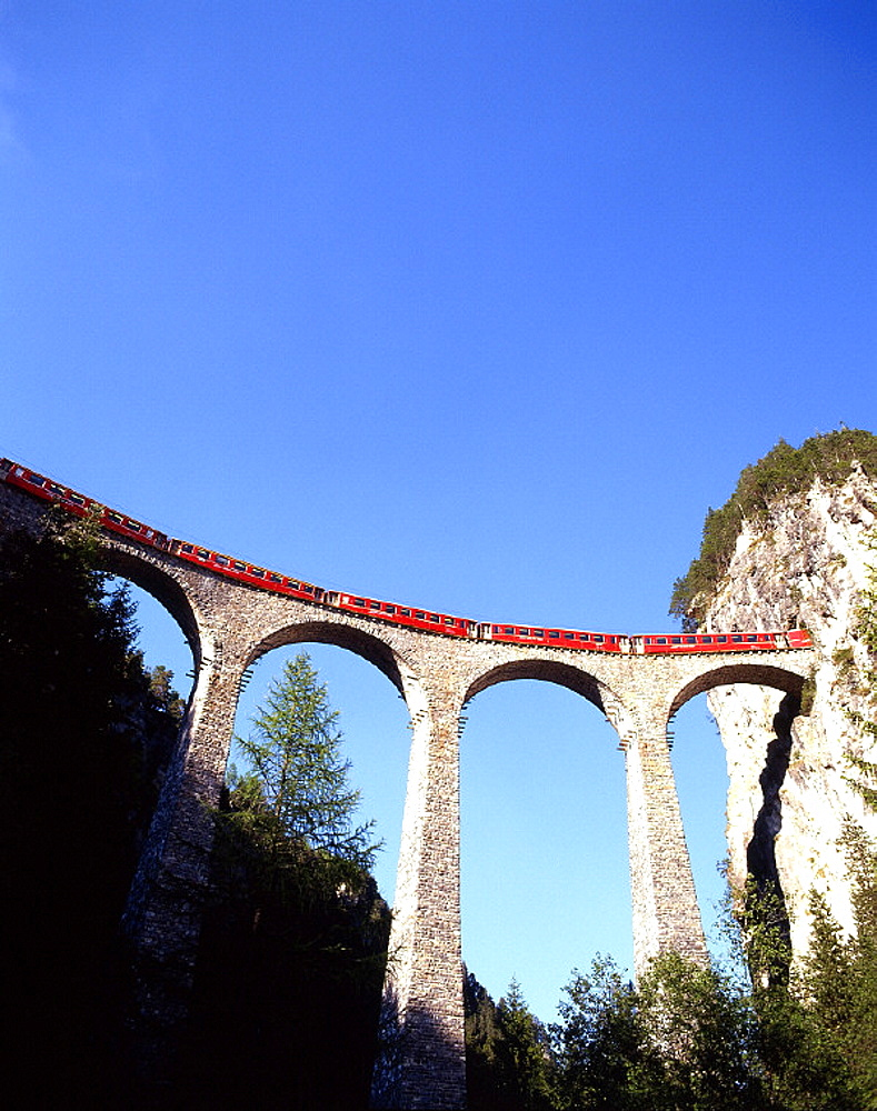 Alps, bridge, Filisur, Grisons, Graubunden, holidays, mountain, mountains, railroad, railway, RhB, Rhaetian Railway, . Alps, bridge, Filisur, Grisons, Graubunden, holidays, mountain, mountains, railroad, railway, RhB, Rhaetian Railway,