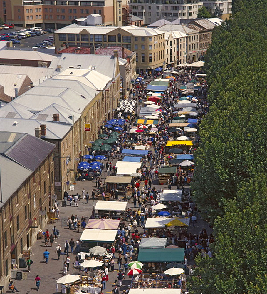 Hobart city, town, city, river, Saturday Market, Salamanca Place, overview, market, person, Tasmania, Australia. Hobart city, town, city, river, Saturday Market, Salamanca Place, overview, market, person, Tasmania, Australia
