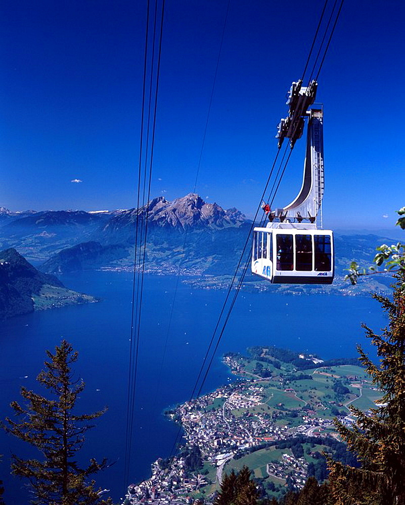 Switzerland, Europe, Weggis_Rigi_Kaltbad Tramway, Ropeway, Gondola, Lake Lucern, Lake Lucerne, canton Lucerne, Tourism. Switzerland, Europe, Weggis_Rigi_Kaltbad Tramway, Ropeway, Gondola, Lake Lucern, Lake Lucerne, canton Lucerne, Tourism