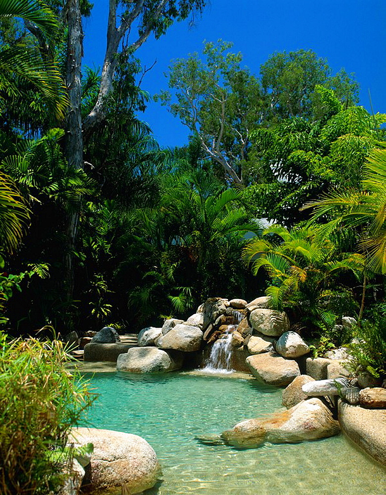 Australia, Swimming Pool, Jewel of the Reef Hotel, Palm Cove, Queensland, Resort, palm trees, rock, waterfall, cascade. Australia, Swimming Pool, Jewel of the Reef Hotel, Palm Cove, Queensland, Resort, palm trees, rock, waterfall, cascade