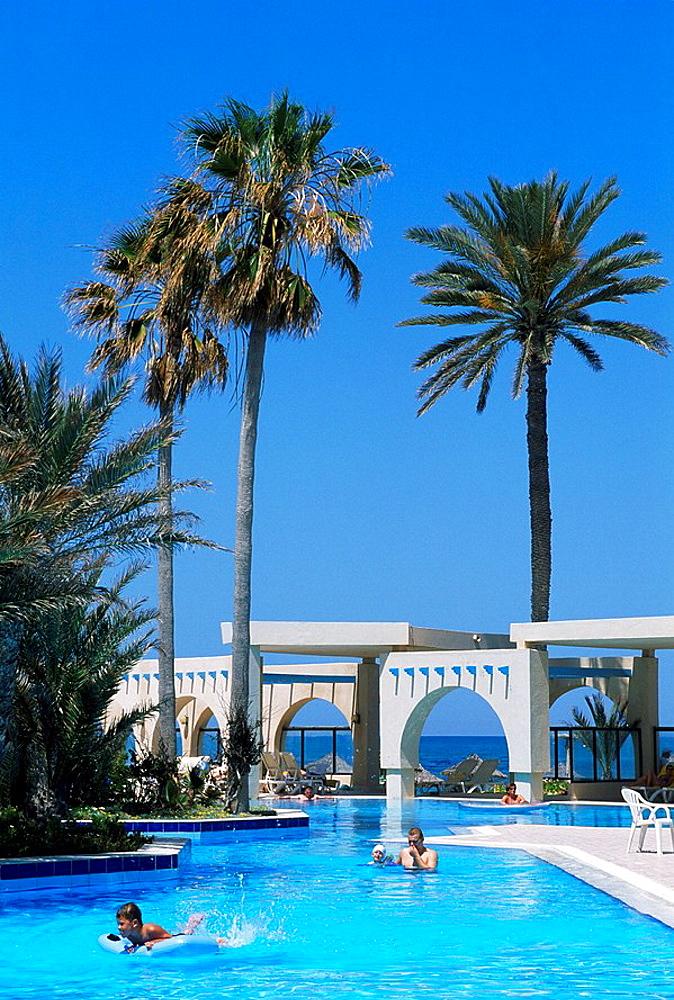 Tunisia, Djerba island, Hotel Zita, Resort, Zarzis Oasis, Africa, North Africa, Mediterranean Sea, coast, island, palm. Tunisia, Djerba island, Hotel Zita, Resort, Zarzis Oasis, Africa, North Africa, Mediterranean Sea, coast, island, palm