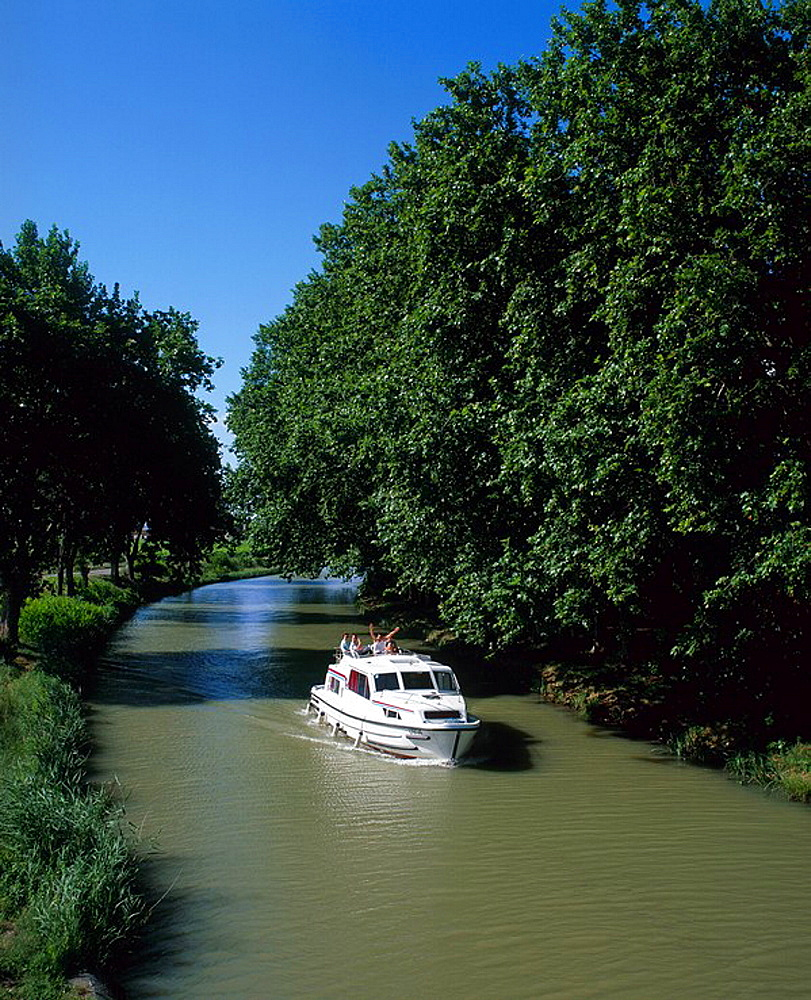 France, Europe, Canal du midi, motor, Boat, family, holiday, sailing, down, French, countryside, Aude, Languedoc, Rous. France, Europe, Canal du midi, motor, Boat, family, holiday, sailing, down, French, countryside, Aude, Languedoc, Rous