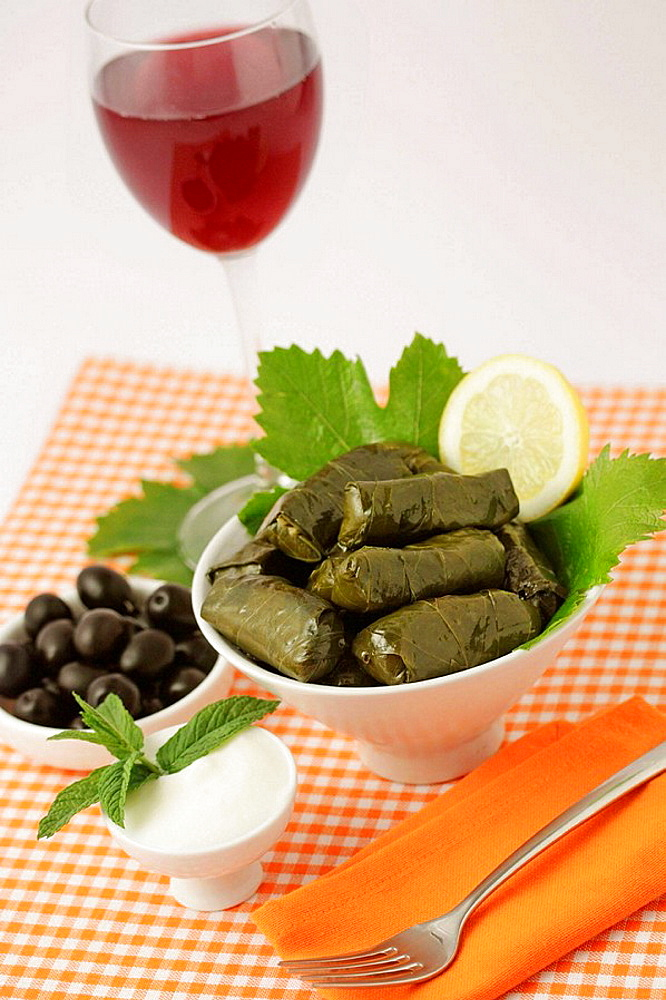 Dolmades, Typical greek meat made with vine leaves.