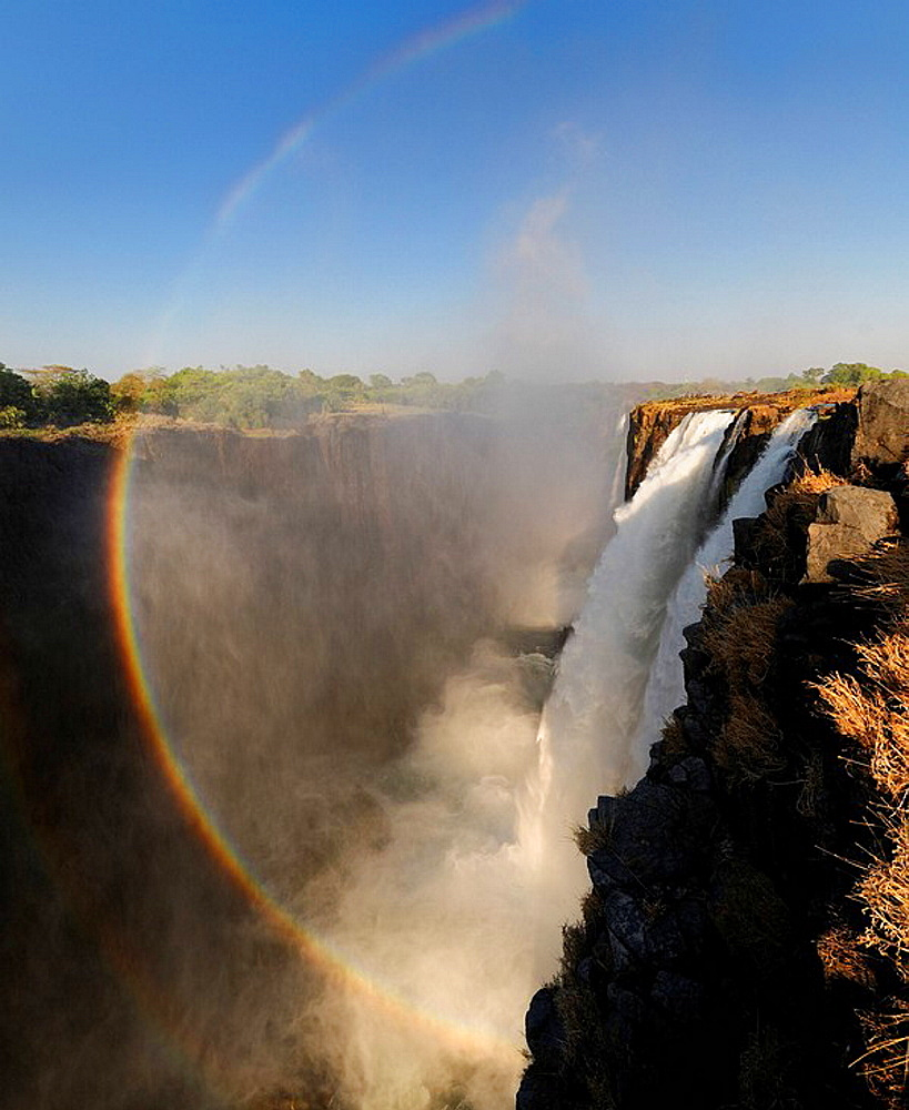 Victoria Falls, Waterfall, waterfalls, Nature, water, rock, cliffs, cliff, Zambesi River, Livingstone, Southern Province, Zambia, Africa, canyon, gorge, landscape, scenery, rainbow. Victoria Falls, Waterfall, waterfalls, Nature, water, rock, cliffs, cliff, Zambesi River, Livingstone, Southern Province, Zambia, Africa, canyon, gorge, landscape, scenery, rainbow
