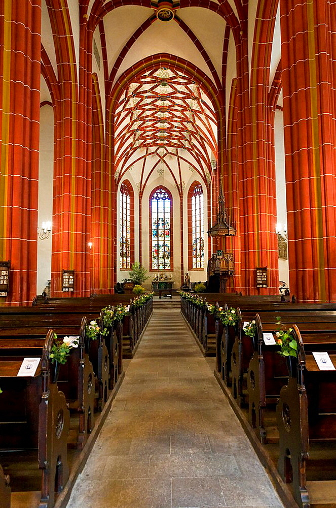 Architecture, destination, FRG, construction, architectural style, constructions, building, federal republic, Germany, Europe, tourism, building, construction, vault, Gothic, inside view, indoor photograph, Johannes, Johanniskirche, church, nave, cross ri. Architecture, destination, FRG, construction, architectural style, constructions, building, federal republic, Germany, Europe, tourism, building, construction, vault, Gothic, inside view, indoor photograph, Johannes, Johanniskirche, church, nave, cross ribbed vault, Eastern Germany, pillar, holiday traffic, religion, Saalfeld, sacred construction, place of interest, Saint, brace, strut, Thuringia, tourism, tourist attraction, tourism, German, European, Gothic, inside, East German, religiously, worth seeing, strive, Thuringian, touristically